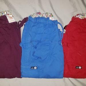 3 Koi Scrub Pants Red Blue Wine all size XXSmall